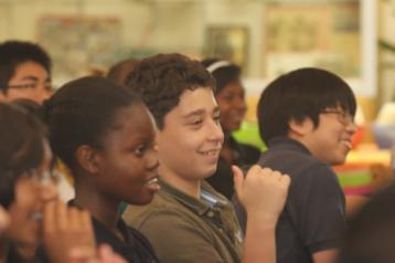 Students at a Young Playwrights in-school mini-festival at Beverly Hills Middle